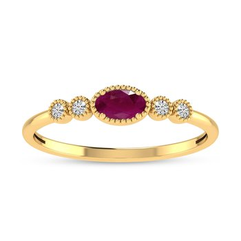 10K Yellow Gold Oval Ruby and Diamond Birthstone Ring