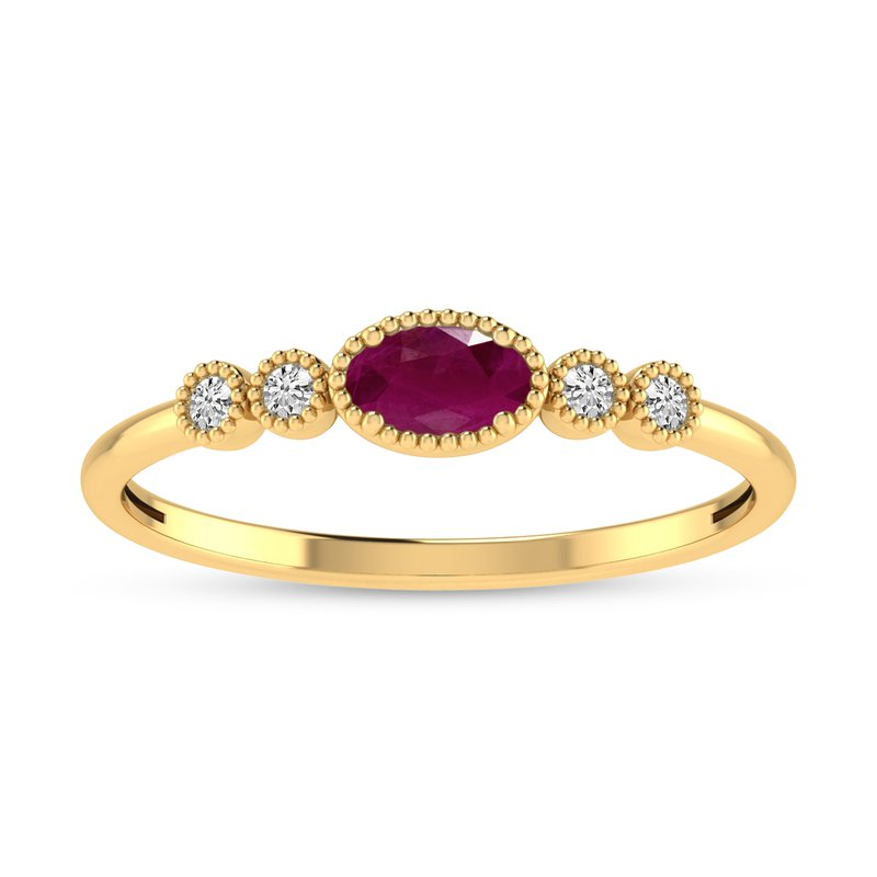 Birthstone Collection 10K Yellow Gold Oval Ruby and Diamond Birthstone Ring