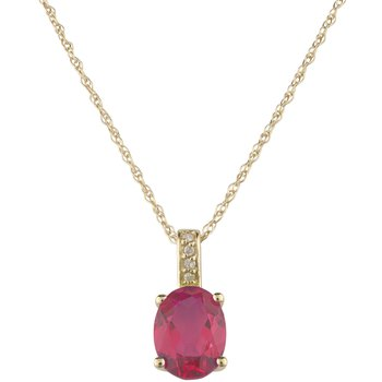 14ky Ruby / Diamond Yellow Gold Pendant