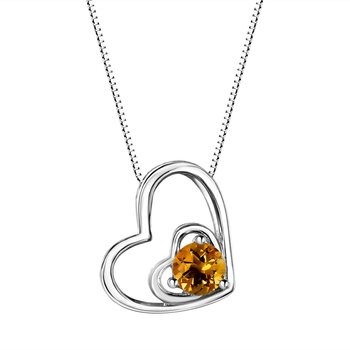 Citrine Double Heart Sterling Silver Pendant