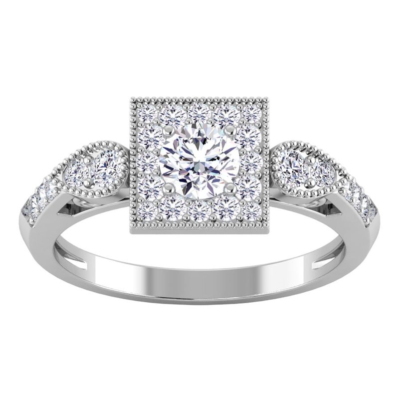 Lab Grown Diamonds Certified 3/4ctw Square Halo Engagement Ring