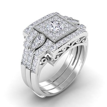 Certified 3/4ctw Square Halo Engagement Ring