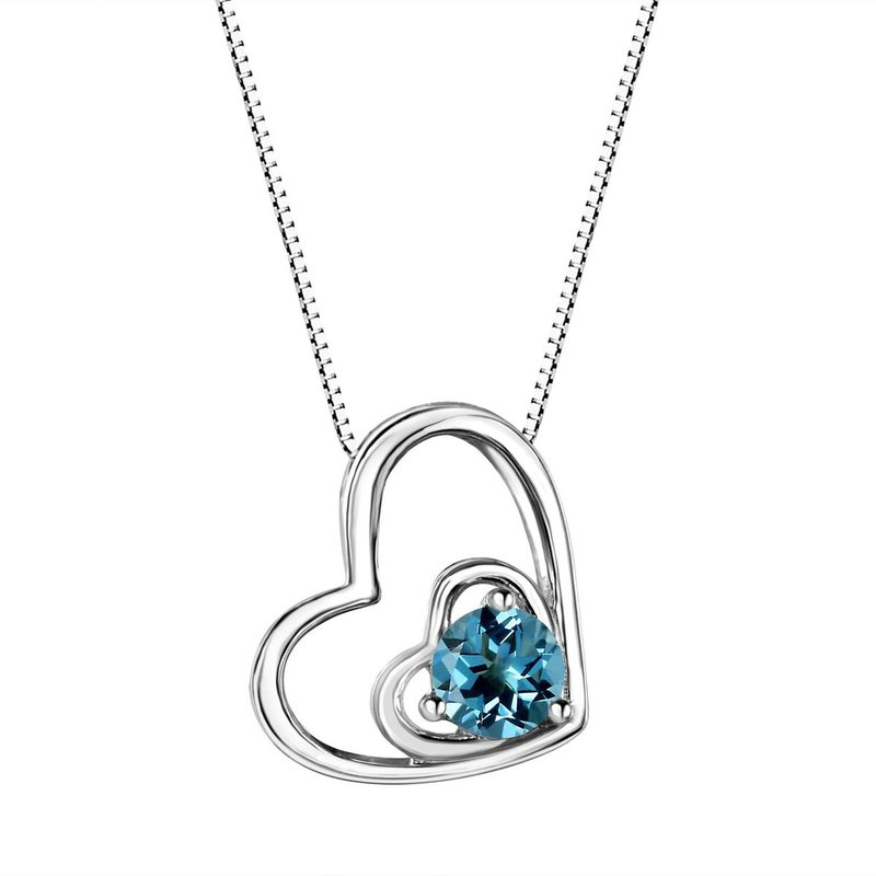 Birthstone Collection Blue Topaz Double Heart Sterling Silver Pendant