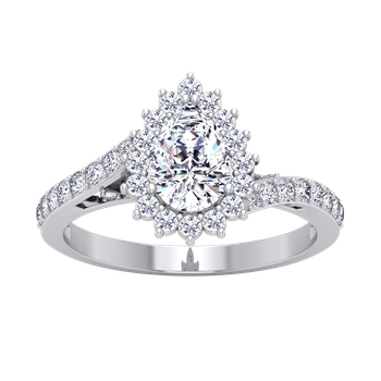 Certified 1 1/2ctw Pear Halo Engagement Ring