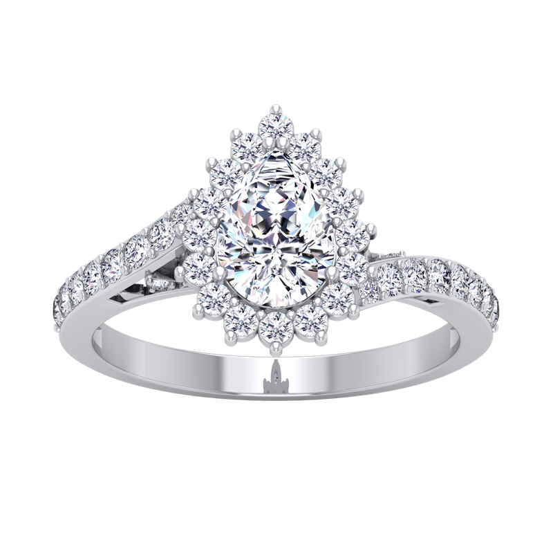 Lab Grown Diamonds Certified 1 1/2ctw Pear Halo Engagement Ring