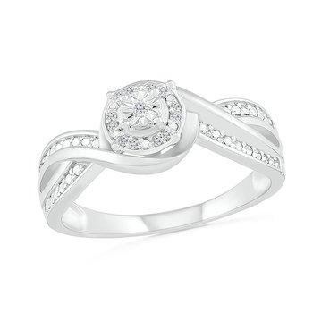 .01ctw Round Halo Diamond Promise Ring