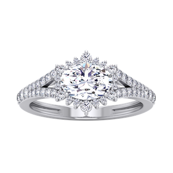 Certified 3/8ctw Sideways Oval Halo Engagement Ring