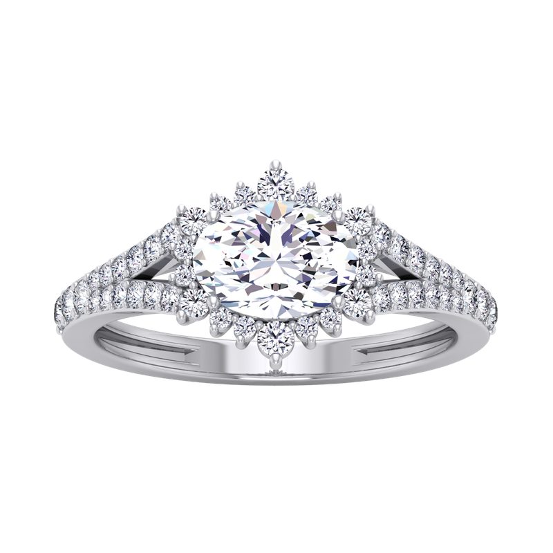 Lab Grown Diamonds Certified 3/8ctw Sideways Oval Halo Engagement Ring