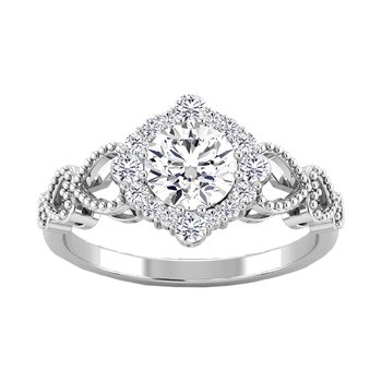 Certified 1 1/4ctw Halo Engagement Ring
