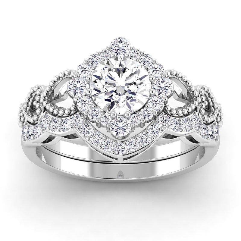 Lab Grown Diamonds Certified 1 1/4ctw Halo Engagement Ring