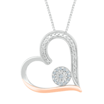 .05ctw Two Tone Heart Necklace