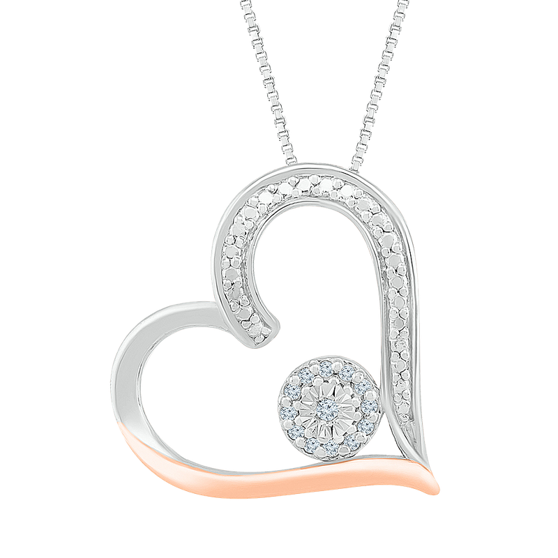 Gifts That Rock .05ctw Two Tone Heart Necklace