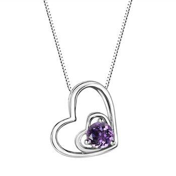 Amethyst Double Heart Sterling Silver Pendant