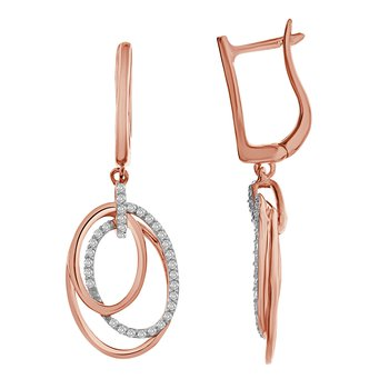 10KR .33ctw Triple Oval Earrings