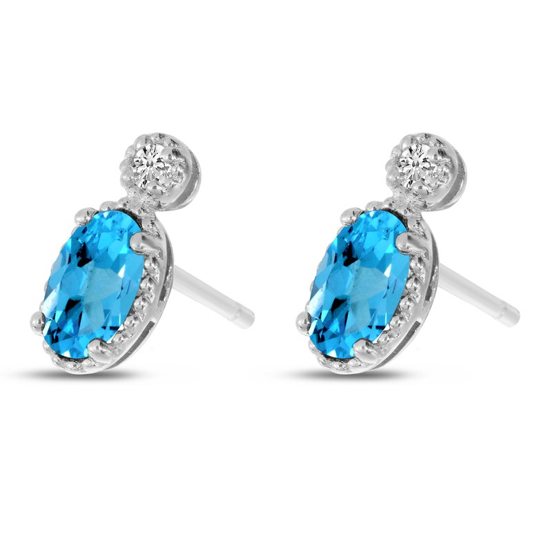 Birthstone Collection 14K White Gold Oval Blue Topaz Millgrain Birthstone Earrings