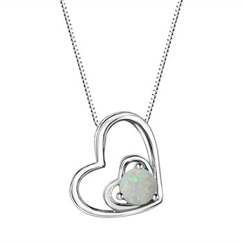 Opal Double Heart Sterling Silver Pendant