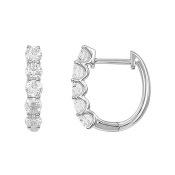 14kw 1 ctw Diamond Hoops