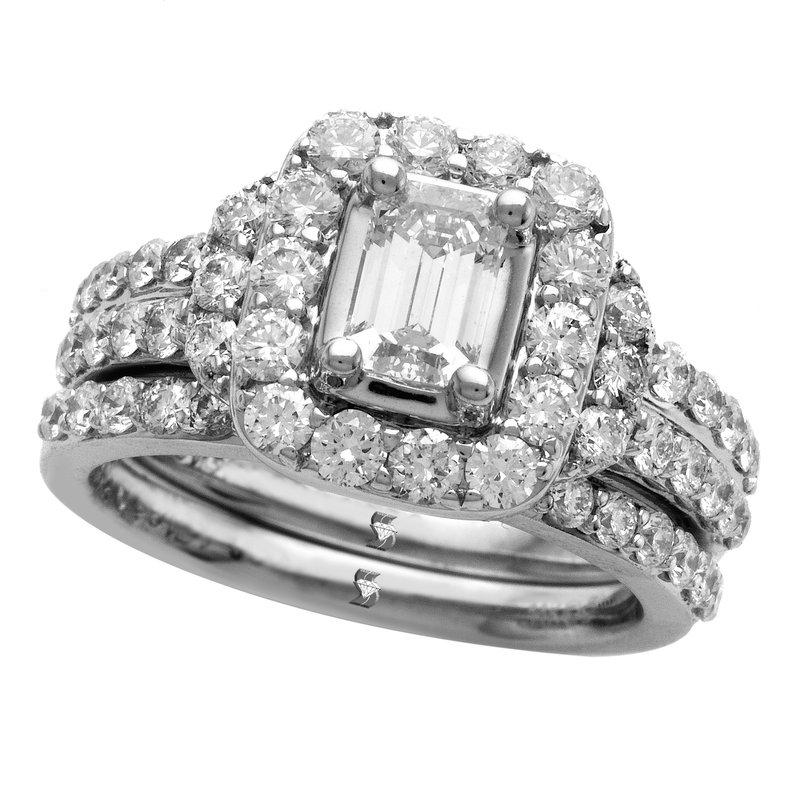 Promise Forever 2ctw Emerald Cut Halo Bridal Set
