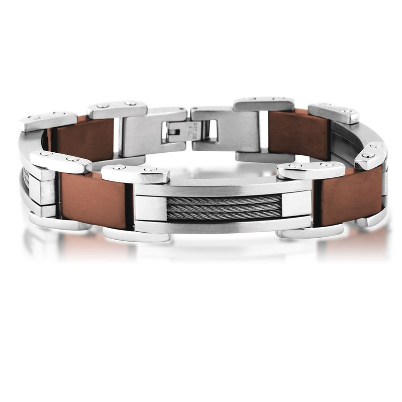 """Saslow's & Henebry's Collection Steel-Brown Ion Plating Cable Bracelet 8.5"""""""
