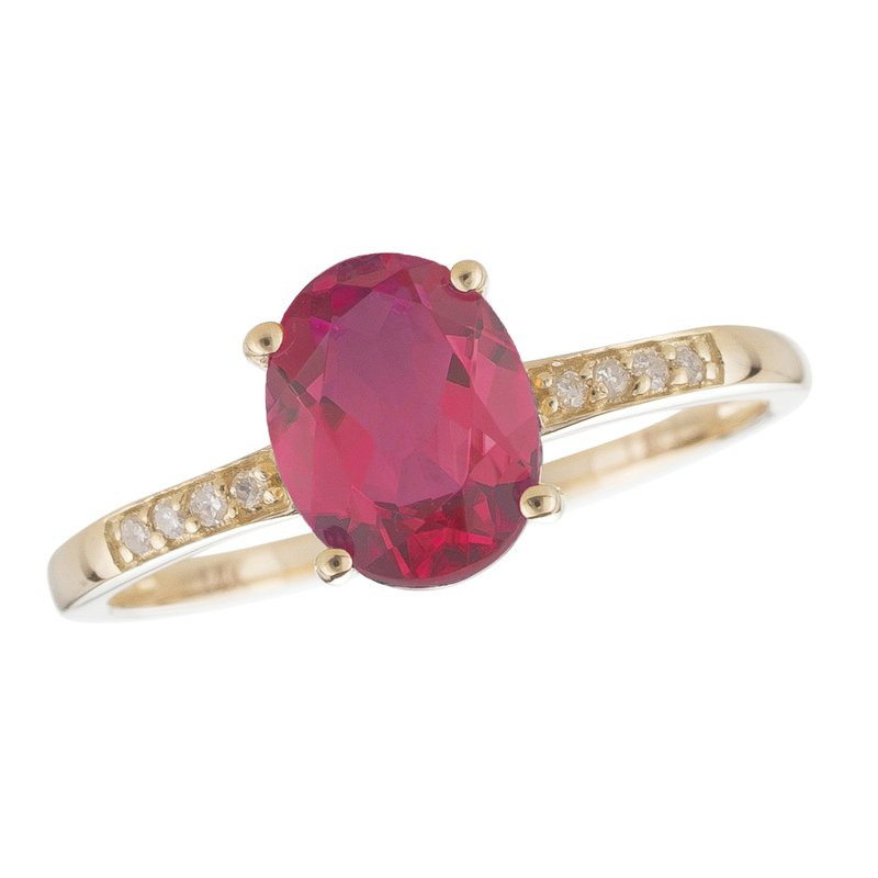 Birthstone Collection 14ky Ruby / Diamond Yellow Gold Ring
