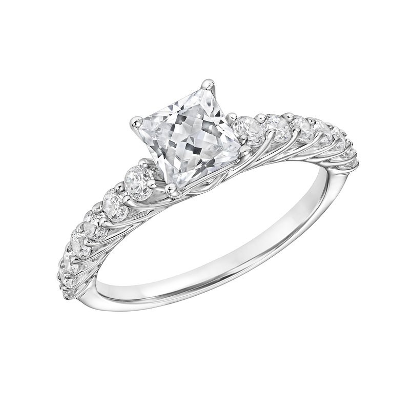 Lab Grown Diamonds Certified 1.5ctw Princess Cut Center Engagement Ring