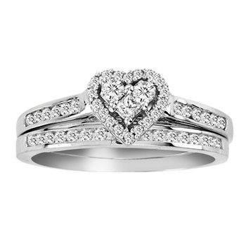 .50ctw 10k Heart Bridal Set