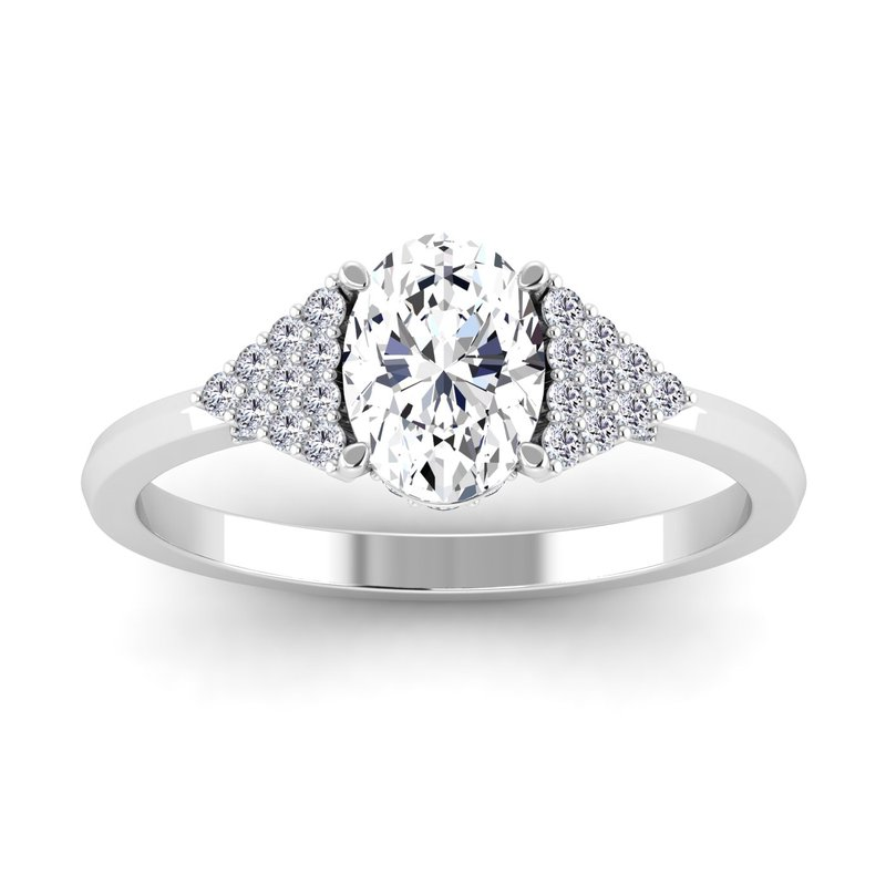 Lab Grown Diamonds Certified 1 1/3ctw Oval Engagement Ring With Multi Diamonds On Side