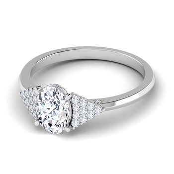 Certified 1 1/3ctw Oval Engagement Ring With Multi Diamonds On Side