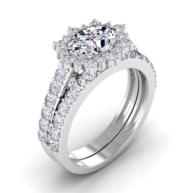 Lab Grown Diamonds Certified 1 3/4ctw Halo Engagement Ring
