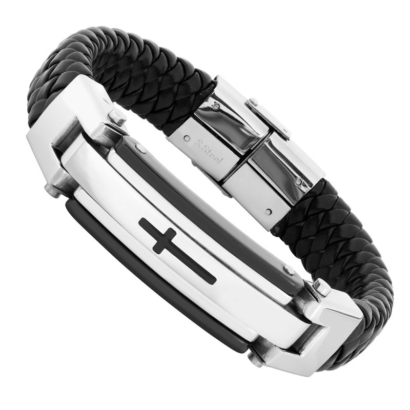 Gifts That Rock Steel-Leather Cross Bracelet