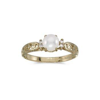 14k Yellow Gold Pearl Diamond Ring