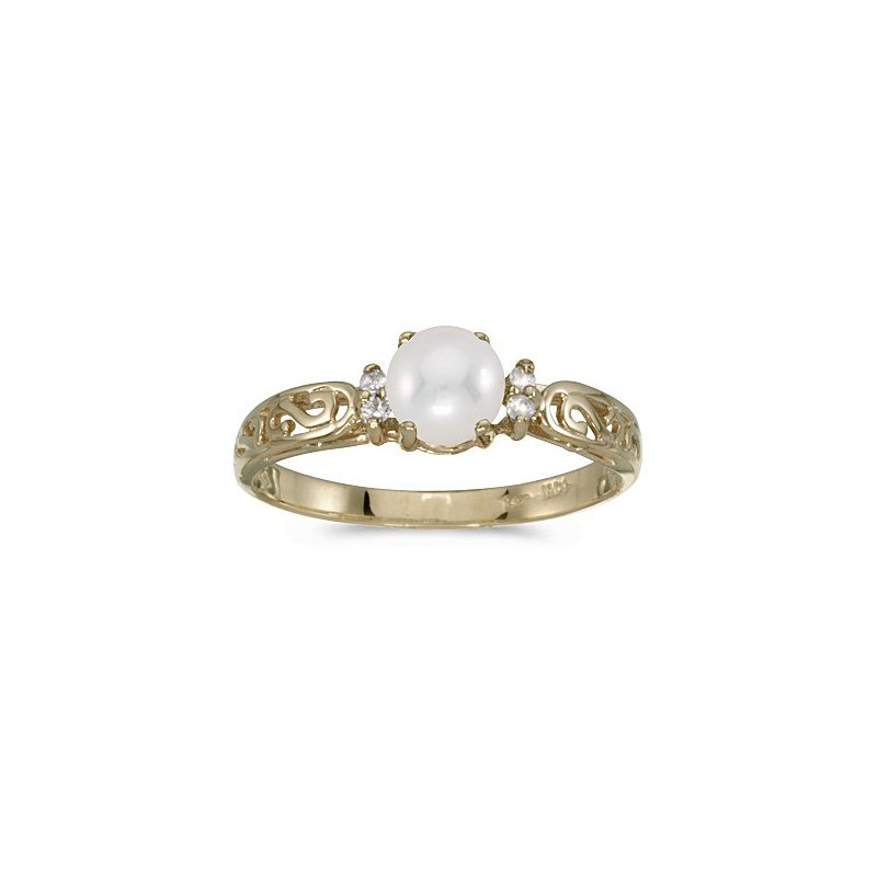 Birthstone Collection 14k Yellow Gold Pearl Diamond Ring
