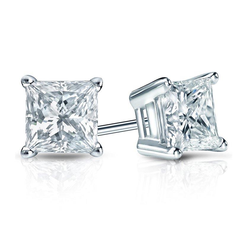 Saslow's & Henebry's Collection Princess Cut Diamond Studs 1/5ctw-1ctw