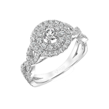 Certified 1ctw Round Double Halo Ring
