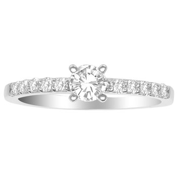 Certified 1/2 Ctw Hearts And Arrows Engagement Ring