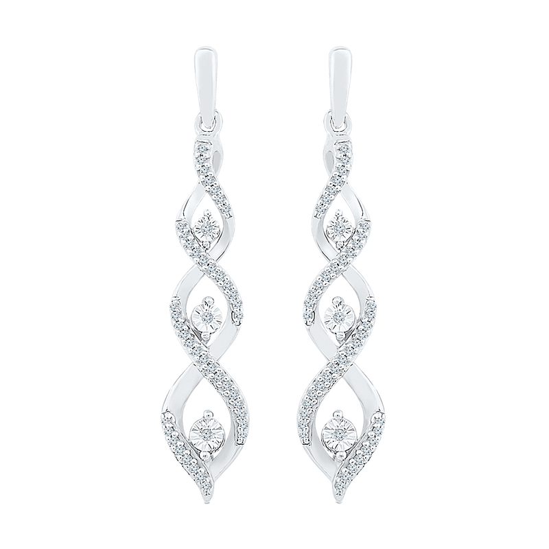 Saslow's & Henebry's Collection .20ctw Twist Drop Earrings