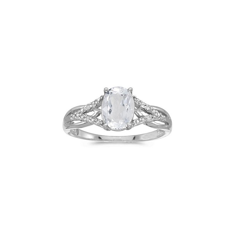 Birthstone Collection 10K White Gold Oval White Topaz And Diamond Ring