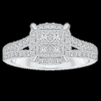 White Gold 1ctw Princess Cut Halo Ring