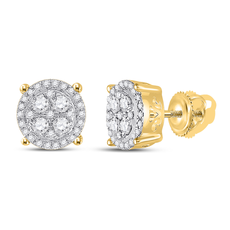 Saslow's & Henebry's Collection YG 1/2 ctw Diamond Cluster Earrings
