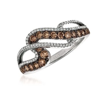 14K Vanilla Gold® Ring with Chocolate Diamonds® 1/2 cts., Vanilla Diamonds® 1/5 cts.