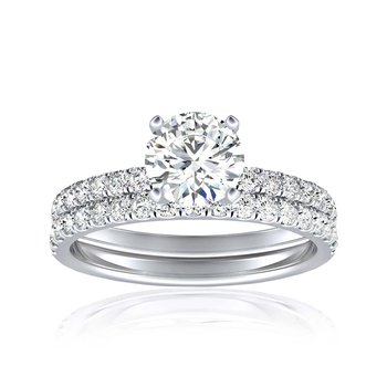 Certified Round Diamond 1.5ctw Bridal Set