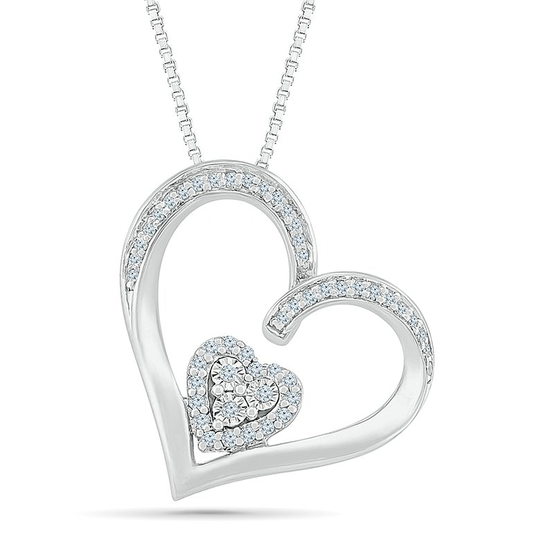 Saslow's & Henebry's Collection .12ctw Two Hearts Diamond Necklace