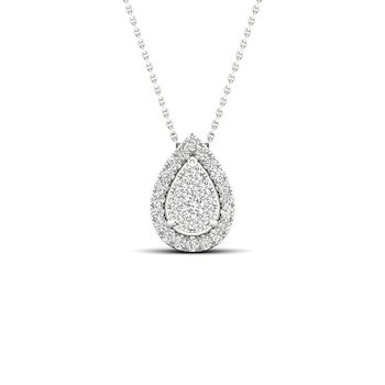 .15ctw Pear Shaped Cluster Halo Pendant