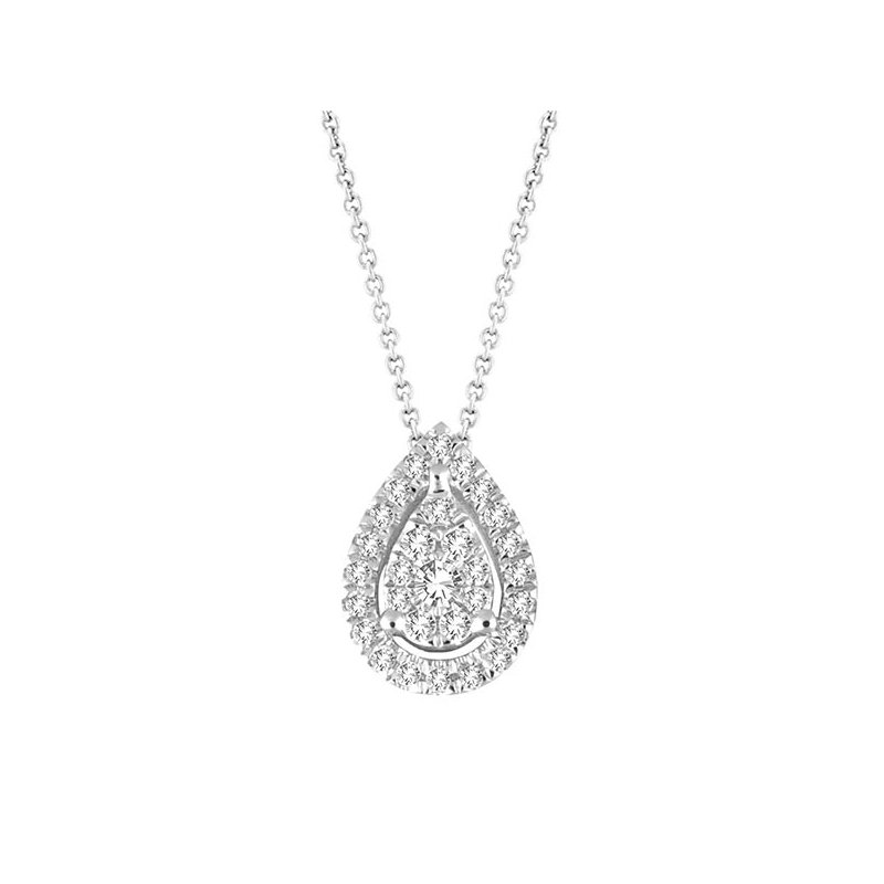 Saslow's & Henebry's Collection .15ctw Pear Shaped Cluster Halo Pendant