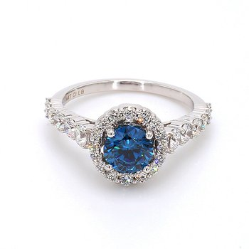 2ctw Lab Grown Blue Diamond Round Halo Engagement Ring