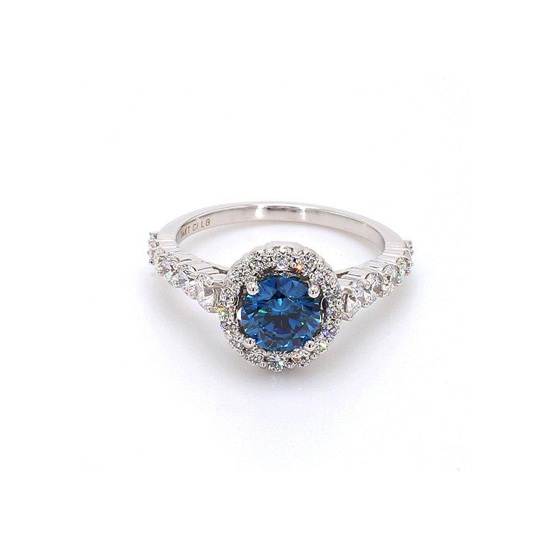 Lab Grown Diamonds 2ctw Blue Diamond Round Halo Engagement Ring