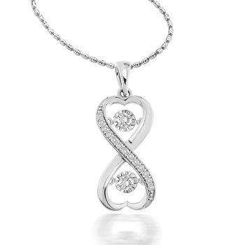 1/5 ctw Double Heart Heartbeat Necklace