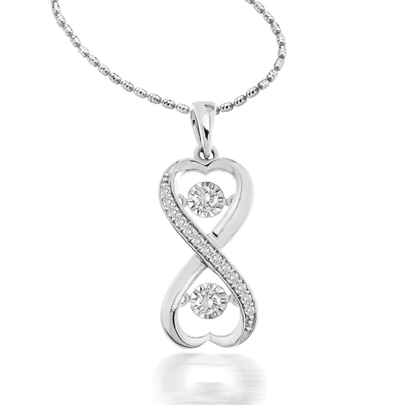 Saslow's & Henebry's Collection 1/5 ctw Double Heart Heartbeat Necklace