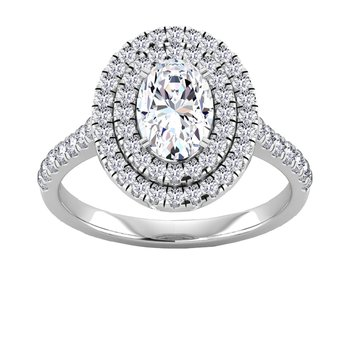 Certified 1 3/4ctw Oval Double Halo Engagement Ring