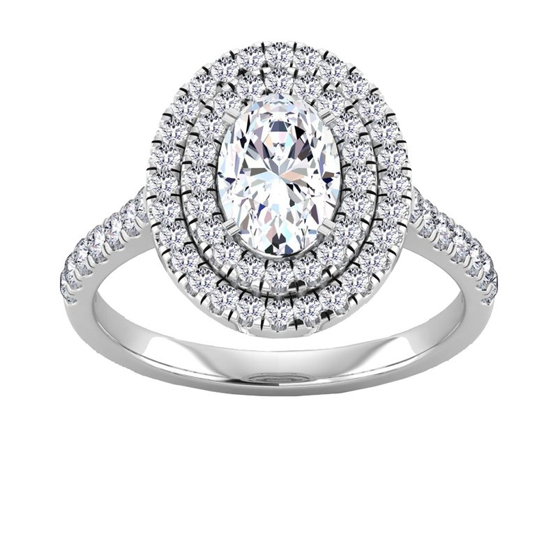 Lab Grown Diamonds Certified 1 3/4ctw Oval Double Halo Engagement Ring